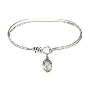 "Adult 7"" Oval Rhodium Plated Bangle Bracelet with St. Philomena Medal Charm"