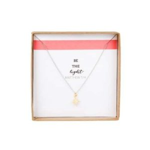 """Be The Light"" Star Pendant Necklace - Gold"
