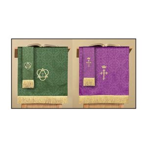 Jacquard Reversible Pulpit Scarf with Cross: Purple/Green