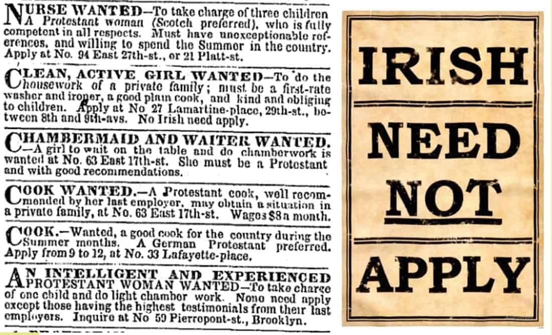 19th century Help wanted ad:  Irish need not apply