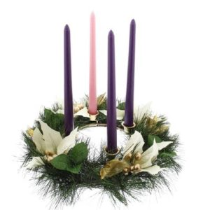 White Poinsettia Advent Wreath and Candles