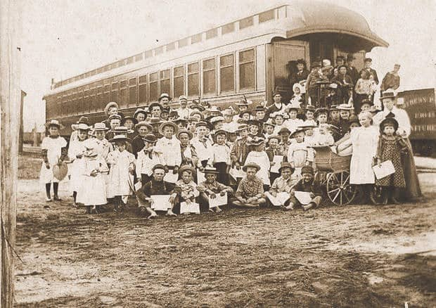 Children arriving on one of the orphan trains