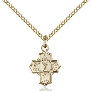 14kt Gold Filled First Communion 5-Way Petite Pendant