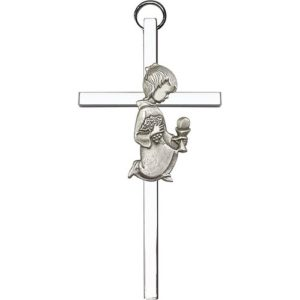4 inch Antique Silver First Communion Girl on a Polished Silver Finish Cross