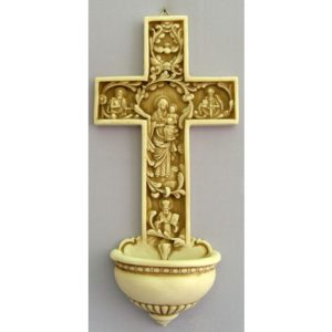 A True Church Cross Holy Water Font - Antiqued Alabaster - 12 Inches
