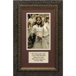 After the First Communion (Matted with Prayer in Dark Ornate Frame) 8x14