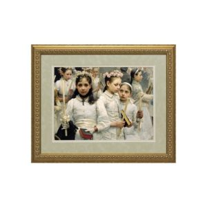 After the First Holy Communion (Matted, w/ Ornate Gold Frame)