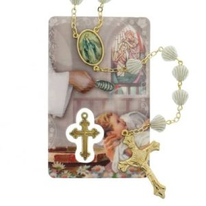 Baptism Rosary with Prayer Card