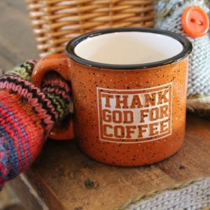 """Thank God for Coffee"" Campfire Mug"