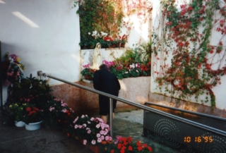 praying at the statue of Our Lady of Mystical Rose in montichiari