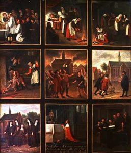 Painting telling the story of the Eucharistic Miracle of Amsterdam