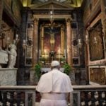 Pope Francis prays before the crucifix of the Church of San Marcello al Corso March 15, 2020. Credit: Vatican Media