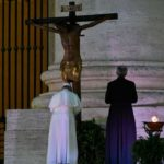 Pope Francis venerates the Miraculous Crucifix...photo credit Catholic News Agency