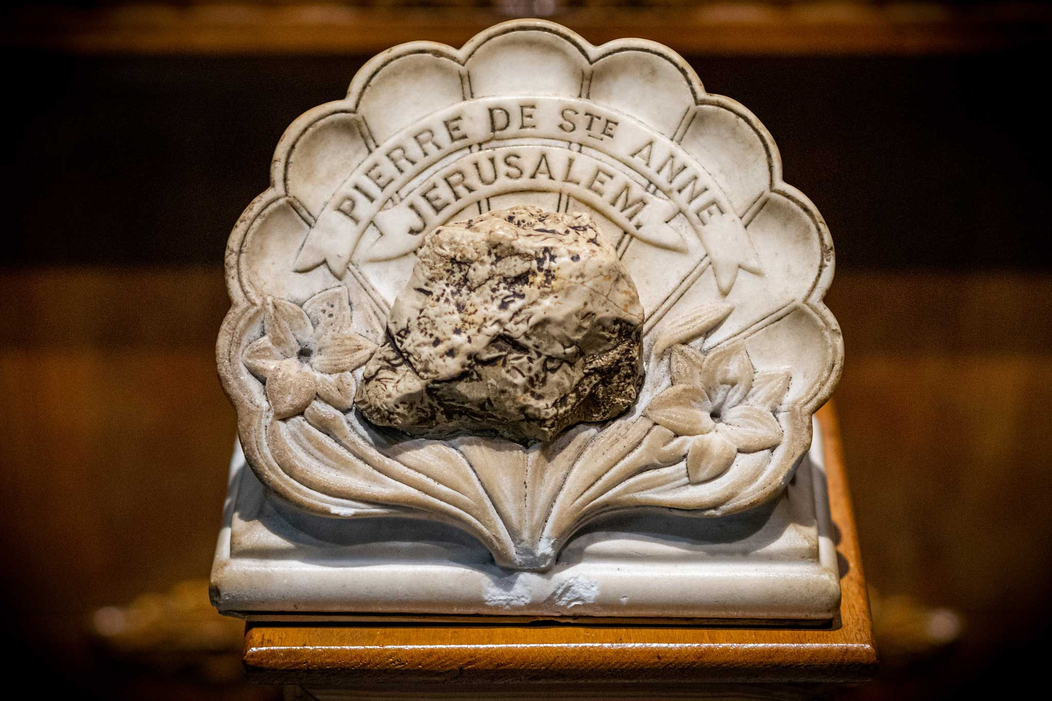 Piece of stone from St. Anne's Church in Jerusalem at St. Annes Shrine Fall River, MA