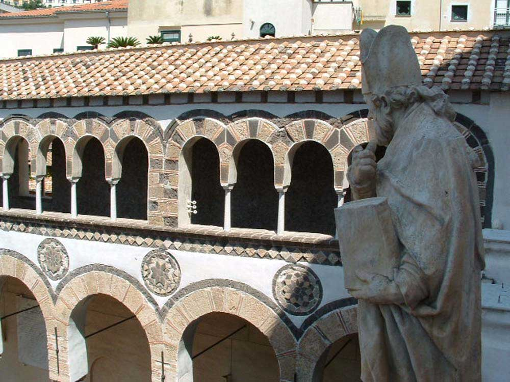 Statue overlooking the Cathedral of Saint Matthew in Salerno, Italy